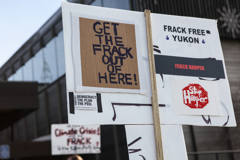 Anti-fracking protest in Yukon. Photo credit should read: Kate Harris.