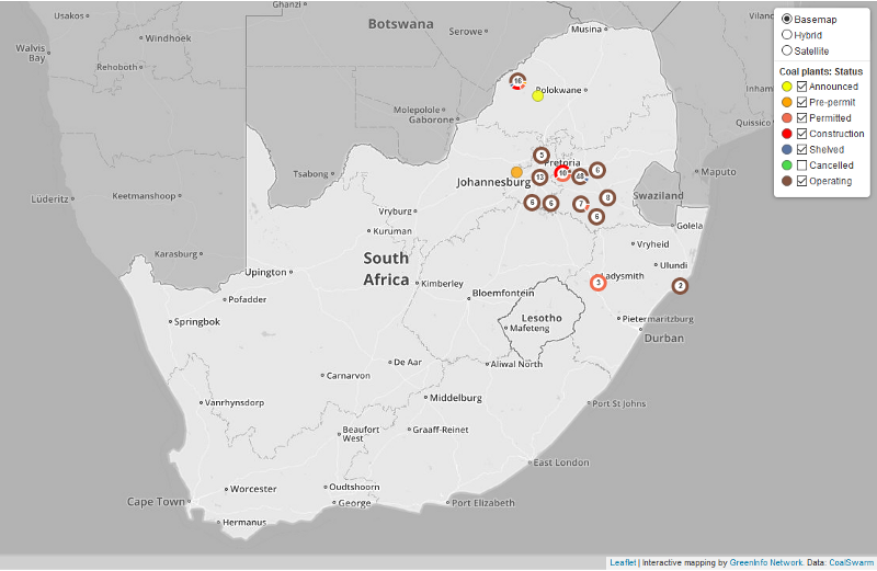 Coal power plants planned and constructed in South Africa since 2010